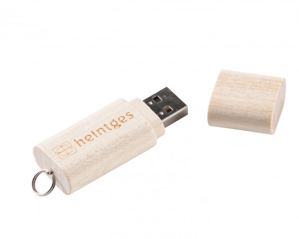 8 GB USB Stick mit Heintgeslogo aus Holz (leer)